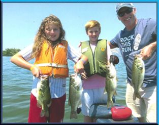 Dad with his 9 and 11 yr old kids, 60 + bass day, Clear Lake, Aug 2017